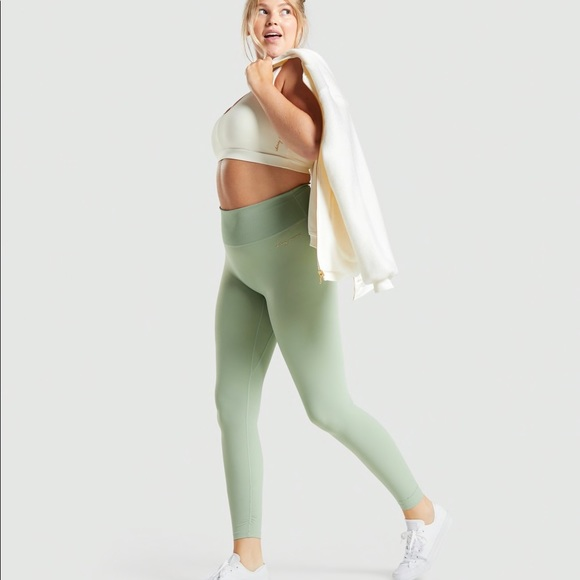 Whitney Simmons Ribbed Moss Green Legging Size S
